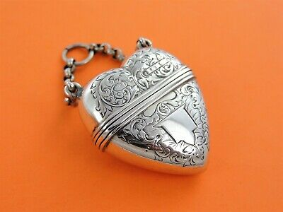 Beautiful & rare SILVER HEART-SHAPED VINAIGRETTE, Birmingham 1875 by F Marson