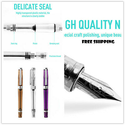 Wing Sung 3013 Vacuum Filling Fountain Pen Transparent Body Fine Nib Writing Set