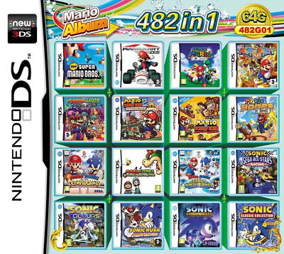 482 in 1 Game Video Cartridge Mari0 Multicart for NDS NDSL DSi 3DS 2DS LL XL