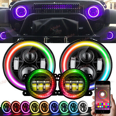 RGB 2X 7Inch Round LED Headlights Hi/Lo Color Fog For Jeep Wrangler JK 2007-2018