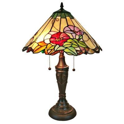 """24"""" Multicolored Table Lamp W/ Tiffany Style Glass Shade Pull Chain Desk Light"""