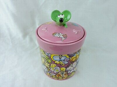 Debbie Carman Cat Treat Jar with Lid Mouse On Top Pink Russ Bernie SIlicone Seal