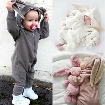 Cute Autumn Infant Baby Boy Girl Rabbit Ears Jumpsuit Overall Warm Clothes 0-24M
