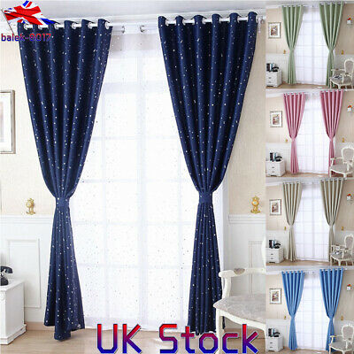 UK Kids Bedroom Thermal Blackout Curtains Window Thermal Insulated Star Curtain