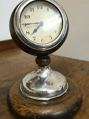 antique art deco small ball shaped birmingham silver 1926 H A C movement CLOCK