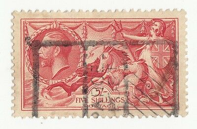 Gb Gv 5/- Sg451 Re-Engraved Type B. Brt Rose Red Well Centered Rms-03-340