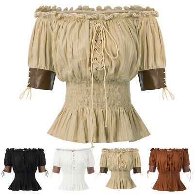 Gothic Victorian Steampunk Pleated Ruffles Shirt Top Blouse Off Shoulder Punk Ol