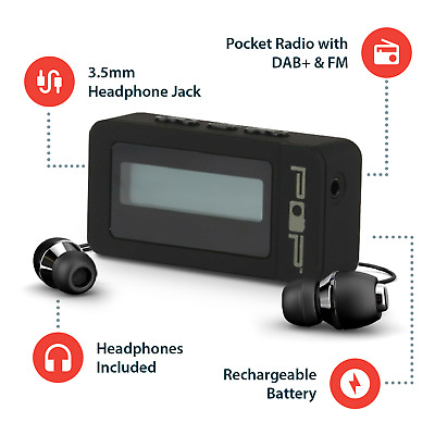 DAB/+ FM Portable Pocket Radio Rechargeable with Headphones Black