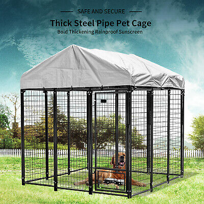 Extra Large Dog Cage Crate Outdoor Dog Kennel House Heavy Duty Metal with Cover