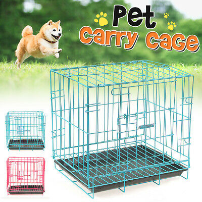 Cat Dog Crate w/Tray Folding Metal Pet Cage Kennel Puppy House Animal Playpen