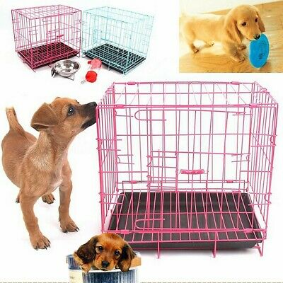 Portable Folding Dog Pet Cat Crate Cage Kennel House Tray Travel Metal Playpen