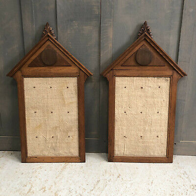 Matching Pair of Antique Oak Hymn/Notice/Peg Boards