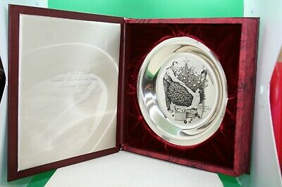 Franklin Mint Norman Rockwell '73 Sterling Silver Plate With Coa & Original Box