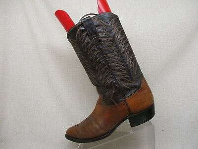 9abeee38f29 VTG JUSTIN FORT Worth Marble Brown Leather Western Cowboy Boots Mens ...
