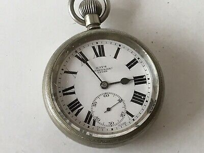 Antique Kay's Screwback Lever Pocket Watch, Nickel Case, Working Well