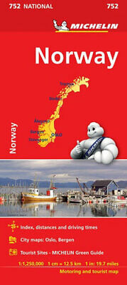 NEW Norway By Michelin Road Map Folded Sheet Map Free Shipping
