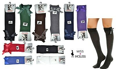 Girls knee high bow socks school uniform black grey white navy red 1,2,3 pairs