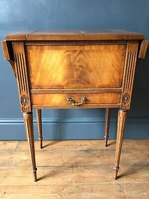 Vintage Antique Sewing Table By Reprodux Bevan Funnell Flame Mahogany