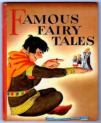 FAMOUS FAIRY TALES ~ vintage Wonder Book, 44-page 1st ed ~ Golden & other books