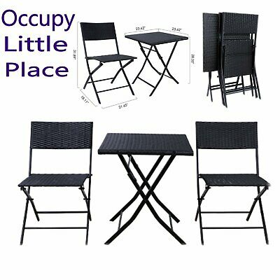 Patio Rattan Bistro Set Table Chair Outdoor Garden Furniture Set Wicker Foldable