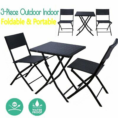 NEW Foldable Patio Rattan Bistro Set Table Chair Outdoor Garden Furniture Wicker