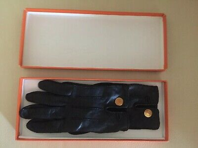 Gants Hermès Clou De Selle Cuir Hermès Gloves Leather Lambskin Saddle GoldPlated