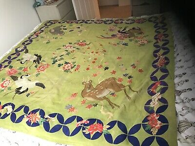 Antique Chinese Silk  Embroidered Cloth,monkey,deer Birds off Paradise/blossom