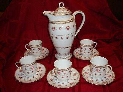 Antique Limoges Elite Chocolate Coffee Tea Set, Pot & 5 Cups, Red Roses & Gold