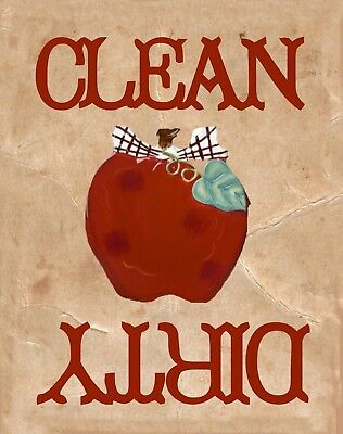 METAL DISHWASHER MAGNET Image Of Apple Clean Dirty Dishes Kitchen MAGNET