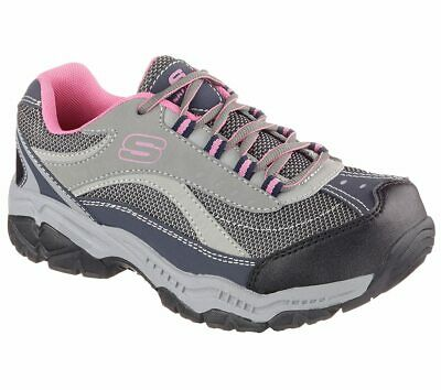 Skechers Work Shoes Gray Pink Women's Memory Foam Slip Resistant Steel Toe 76574