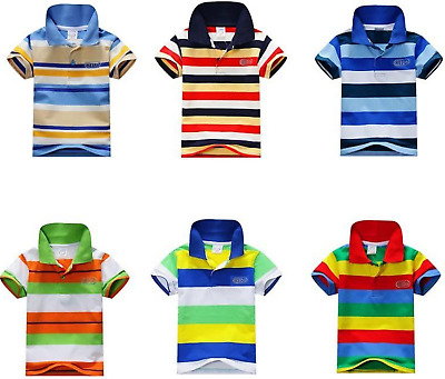 Kids Boys/Girls Casual Cotton Striped Short Sleeves Polo T.Shirt Top 1-2-4-7 YRS