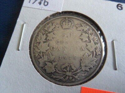 1916 Canada Sterling Silver 50 Cent Piece-George V-11.66 Grams-0.925------19-354