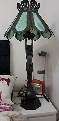 Stunning Art Deco Bronze Lamp , Naked Lady , Over 3 Foot Tall,Glass Shade