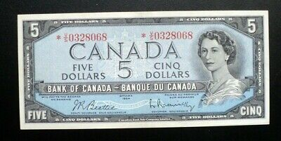 1954 BANK OF CANADA $5 Dollars Replacement Note *V/S 0328068 BC-39bA