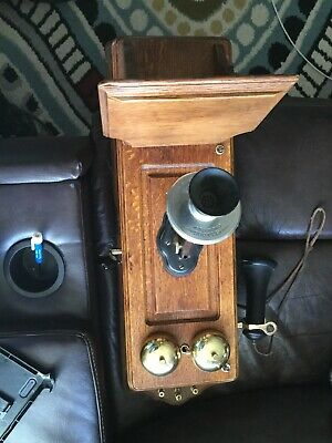 Vintage Antique Kellogg Hand Crank Wall Telephone Phone Wood Case Great Shape