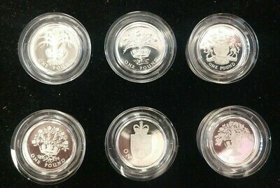 Group of (6) 1 Pound Sterling Silver Proof Piedfort Coins from the UK