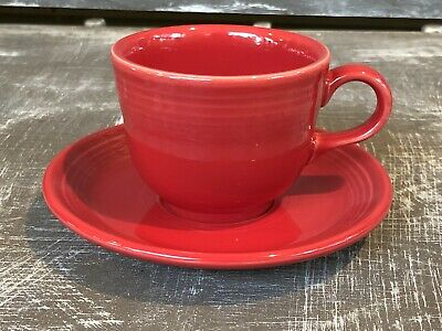 85e29f740e9 Fiesta Scarlet Red Fiestaware Homer Laughlin China Co. Tea Cup and Saucer  Set