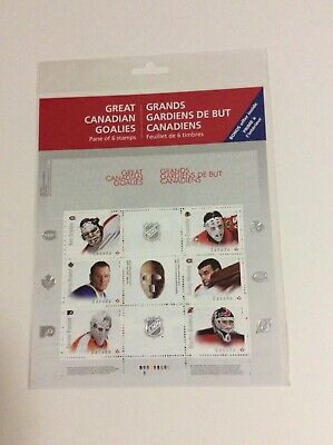 2015 Canada Great Canadian NHL Goalies Sealed Pane Of 6 MNH Stamps