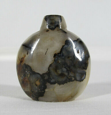 19 C Qing Republican Mushroom Agate Hardstone Snuff Bottle Carved Tobacciana yqz