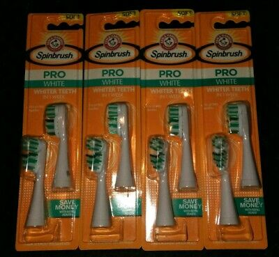 Lot Of 4 ARM & HAMMER Spinbrush Pro Whitening Replacement Brush Heads Soft