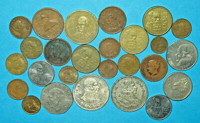 MEXICO COIN LOT WITH 2 BIG SILVER UN PESO! MEXICAN COLLECTION! (71e)