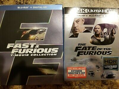 Fast and furious 7 movie collection blu ray, Fate of the Furious + 4K copies