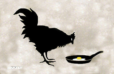 24 x 36 inch Banksy Chicken and Egg Street art on canvas premium Print graffiti