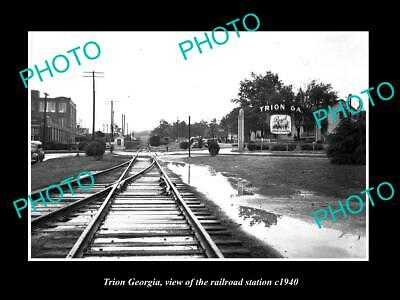 OLD POSTCARD SIZE PHOTO OF TRION GEORGIA, THE RAILROAD DEPOT STATION c1940