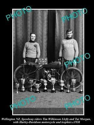 8x6 HISTORIC PHOTO OF HARLEY DAVIDSON SPEEDWAY MOTORCYCLE RIDER & TROPHIES c1930