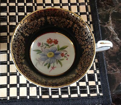 Paragon Bone China Black & Gold Tea Cup only no Saucer Blue Daisy