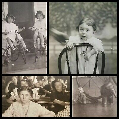 Lot Antique EDWARDIAN RPPC Photo Postcard CHILDREN TRICYCLE Baby Surprised TEENS