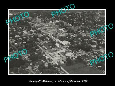 OLD LARGE HISTORIC PHOTO DEMOPOLIS ALABAMA, AERIAL VIEW OF THE TOWN c1950 1