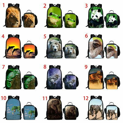 Panda Lion Girls School Bags Backpack Teenagers Boys Laptop Rucksack Lunch Bag