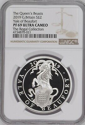 2019 1 oz Silver Queen's Beasts The Yale of Beaufort Proof Ultra Cameo NGC PF69